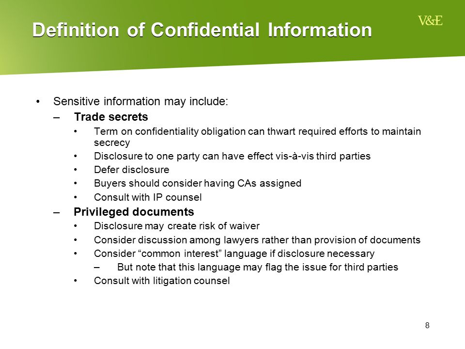Definition of Confidential Information