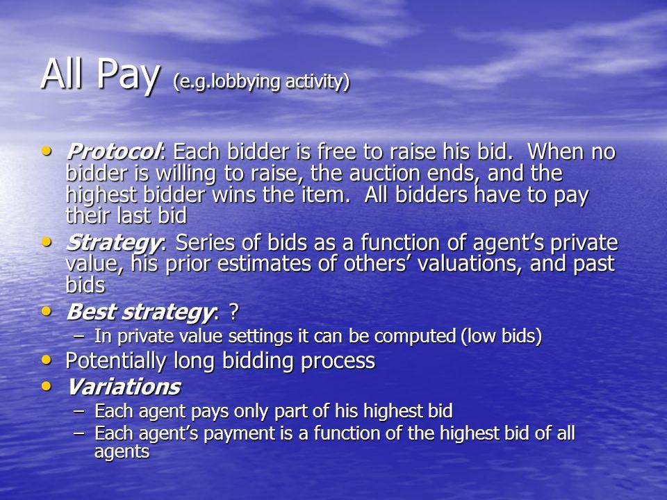 All Pay (e.g.lobbying activity)