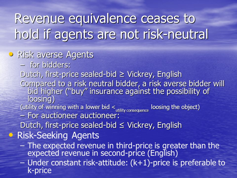 Revenue equivalence ceases to hold if agents are not risk-neutral