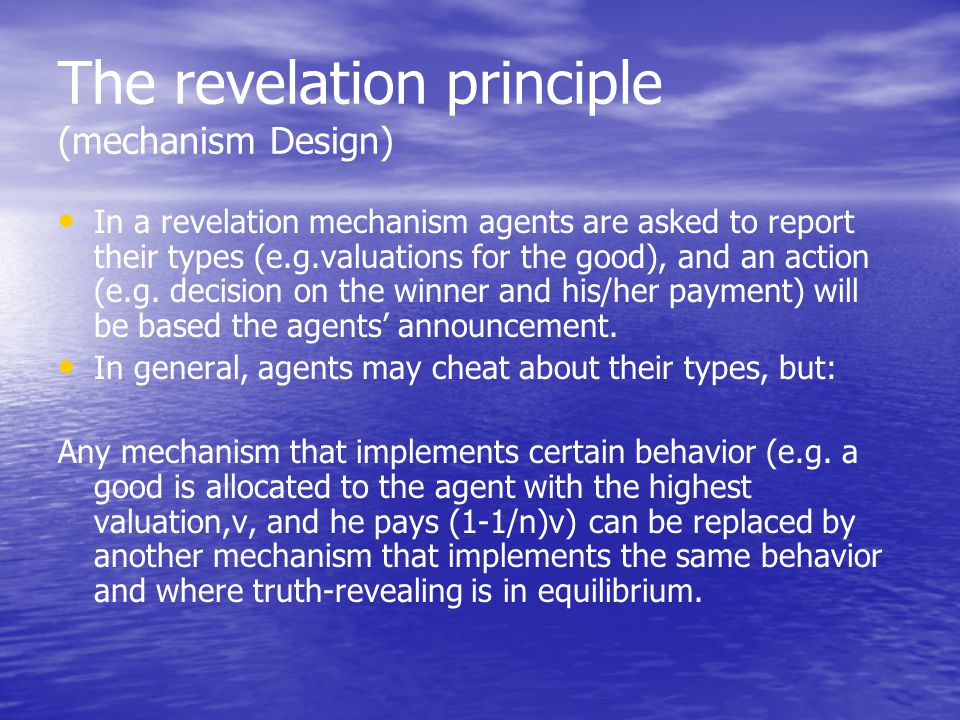 The revelation principle (mechanism Design)