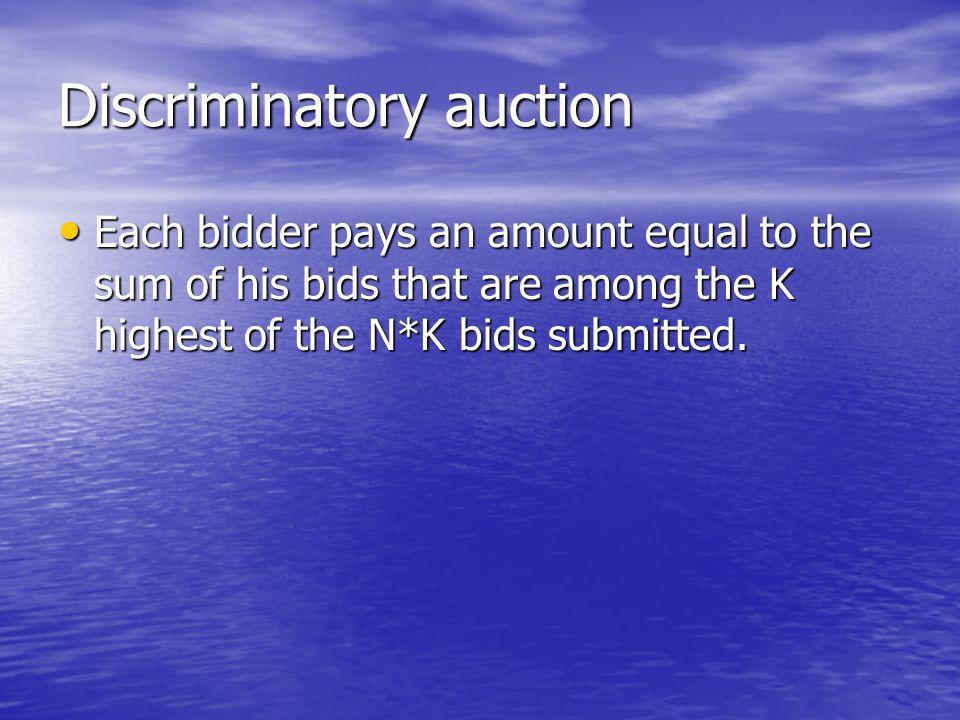 Discriminatory auction