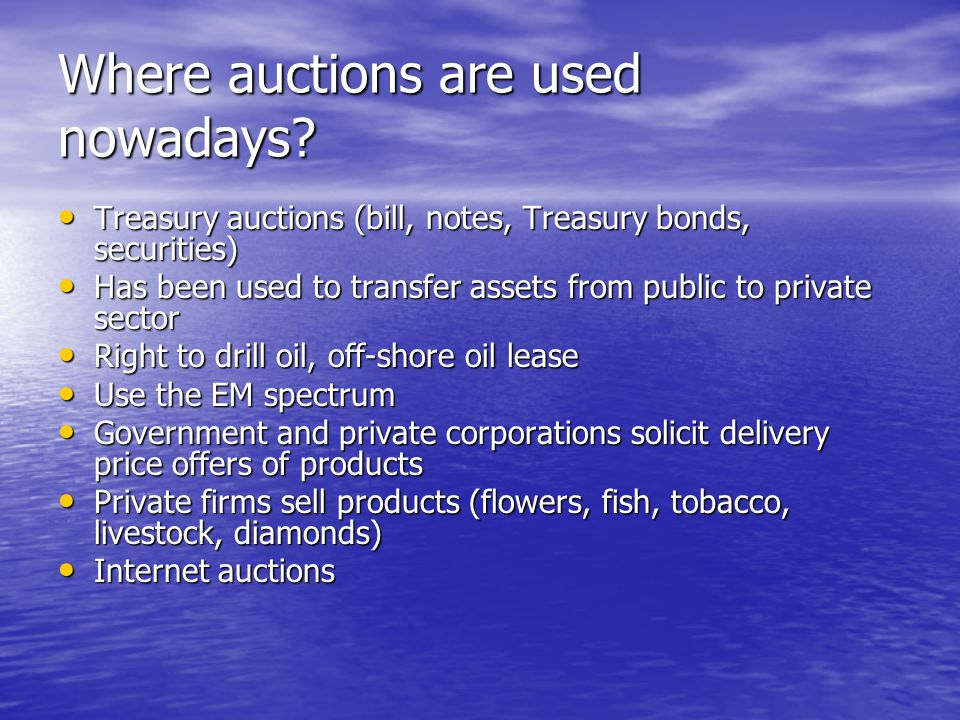 Where auctions are used nowadays