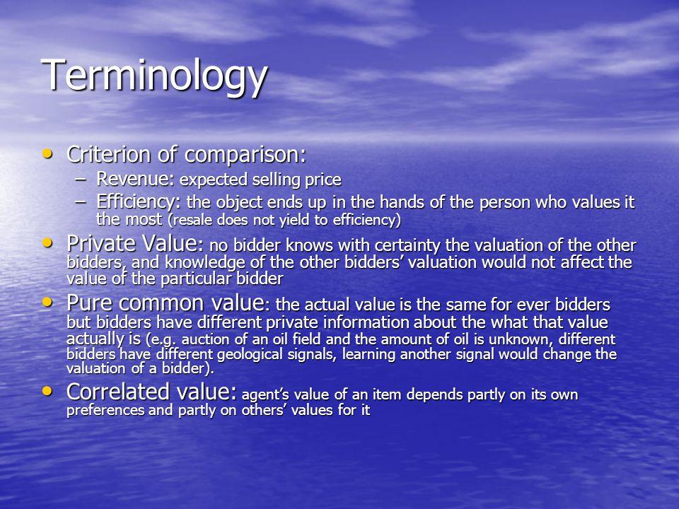 Terminology Criterion of comparison: