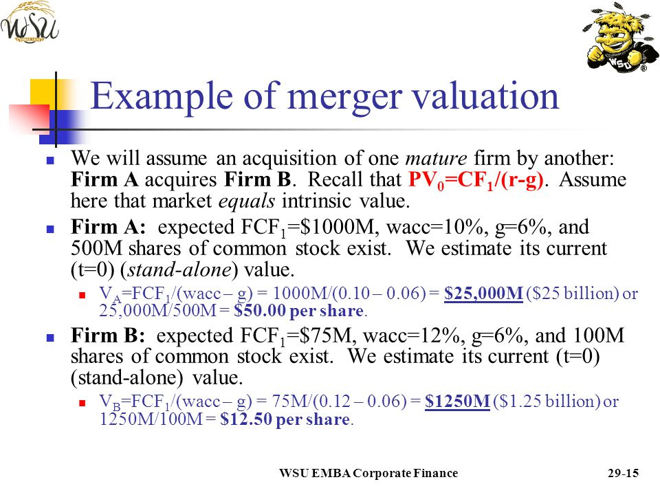 Example of merger valuation