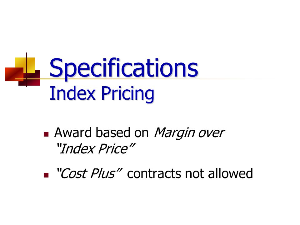 Specifications Index Pricing