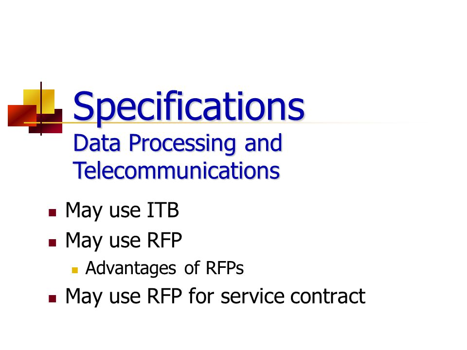 Specifications Data Processing and Telecommunications