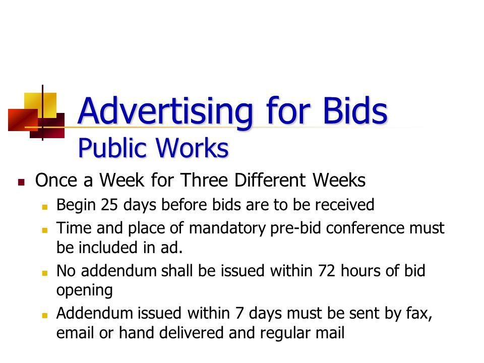 Advertising for Bids Public Works