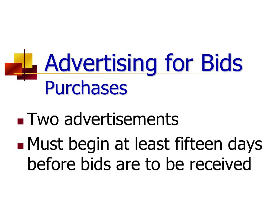 Advertising for Bids Purchases