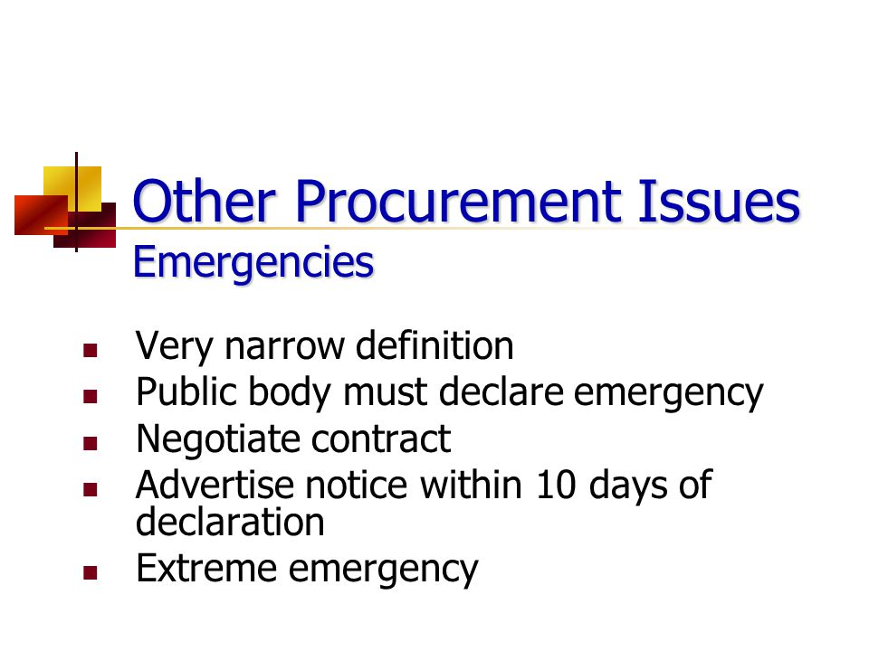 Other Procurement Issues Emergencies