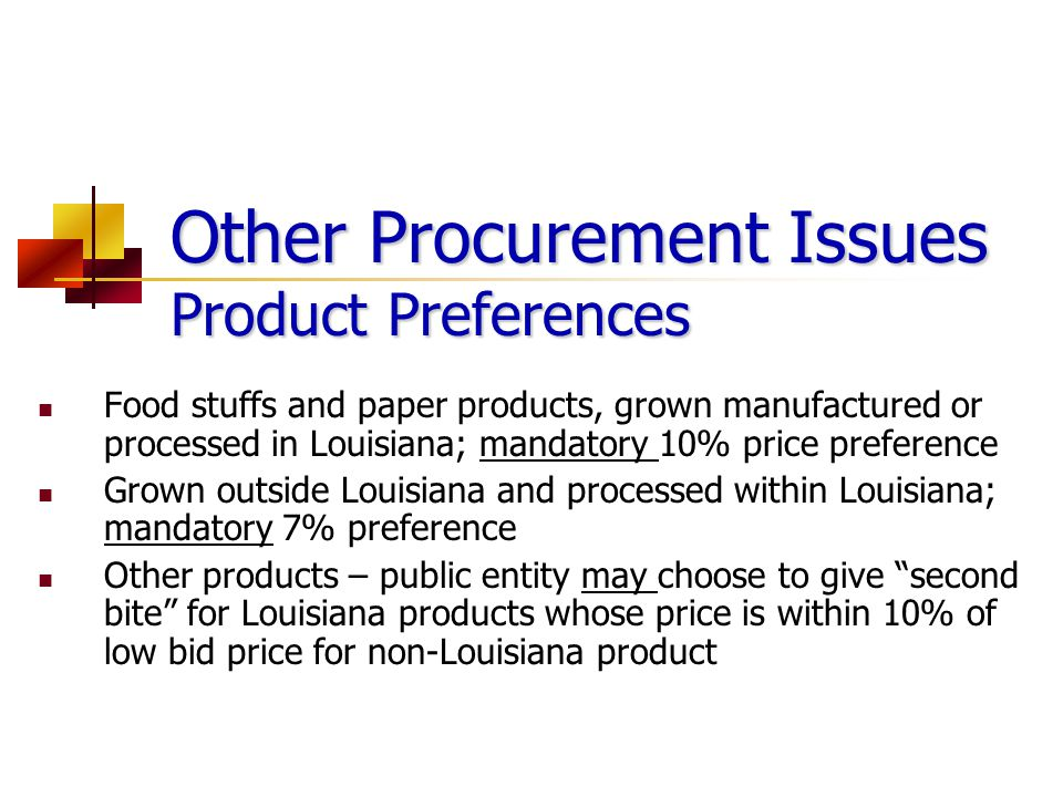 Other Procurement Issues Product Preferences