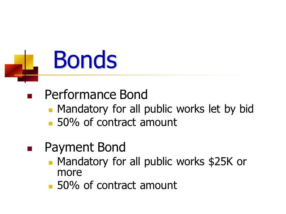 Bonds Performance Bond Payment Bond