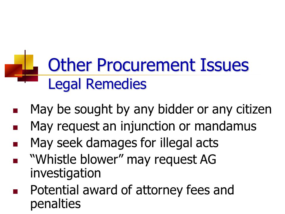 Other Procurement Issues Legal Remedies