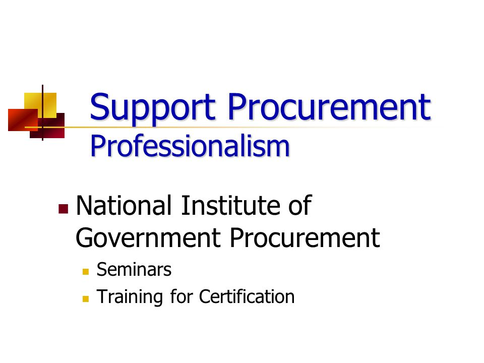 Support Procurement Professionalism