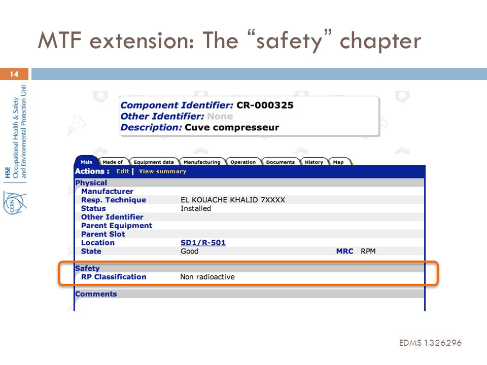 MTF extension: The safety chapter