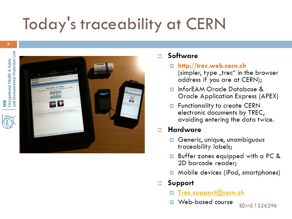 Today s traceability at CERN