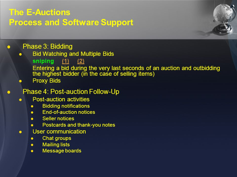 The E-Auctions Process and Software Support