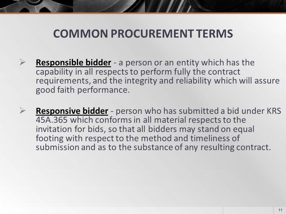 COMMON PROCUREMENT TERMS