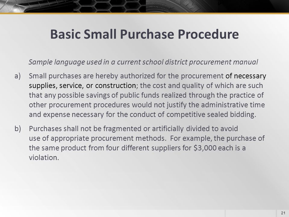 Basic Small Purchase Procedure