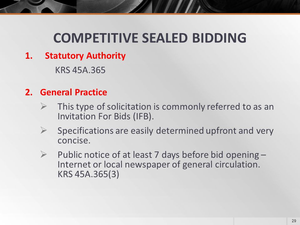 COMPETITIVE SEALED BIDDING