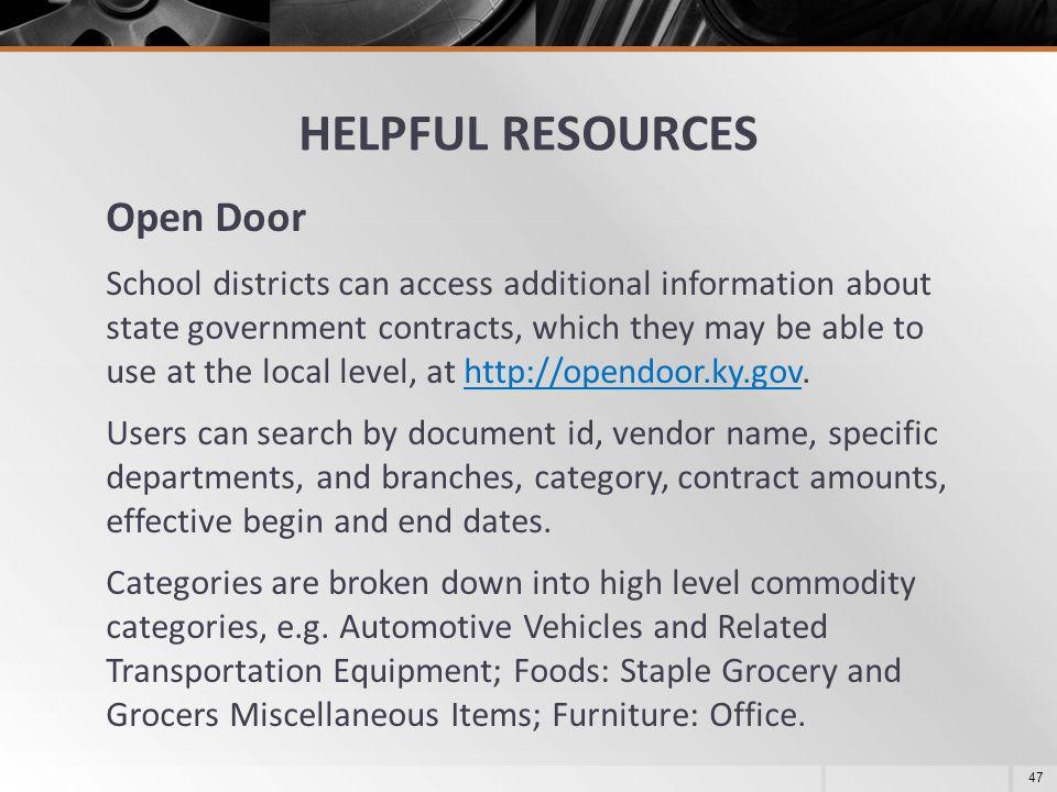 HELPFUL RESOURCES Open Door