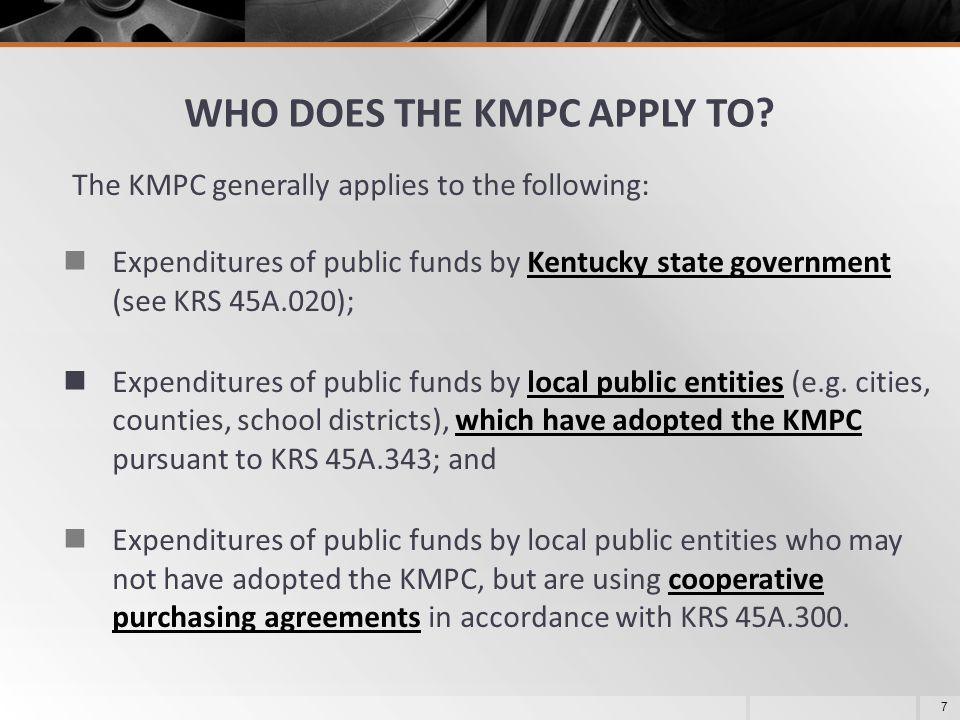 WHO DOES THE KMPC APPLY TO