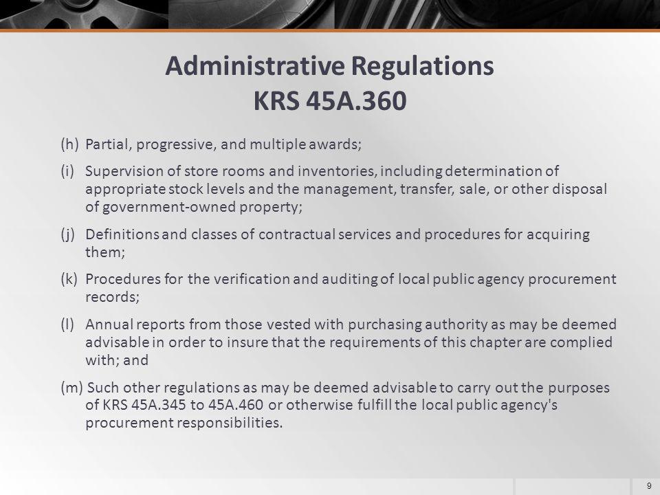 Administrative Regulations KRS 45A.360