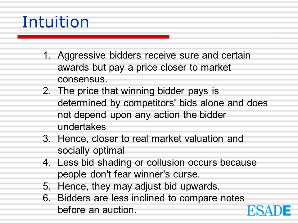 Intuition Aggressive bidders receive sure and certain awards but pay a price closer to market consensus.