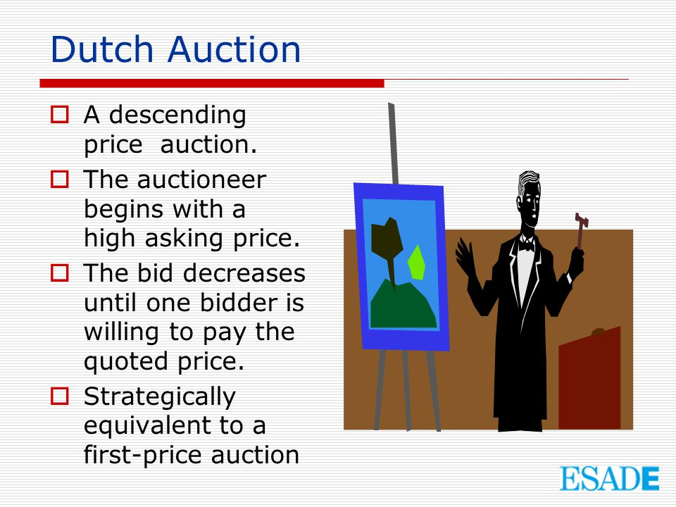 Dutch Auction A descending price auction.