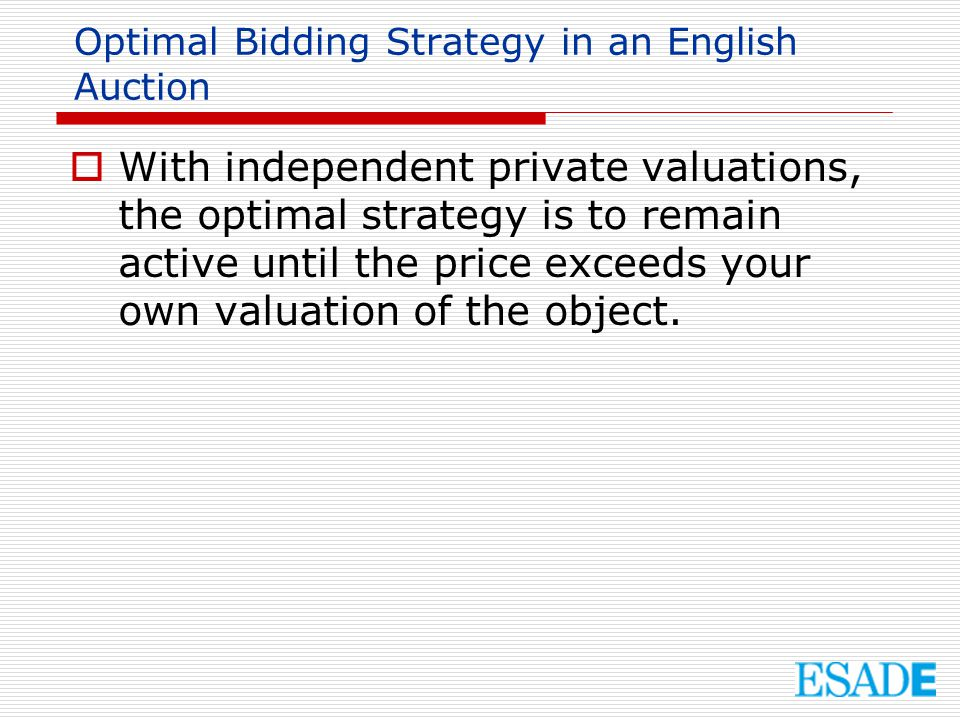Optimal Bidding Strategy in an English Auction