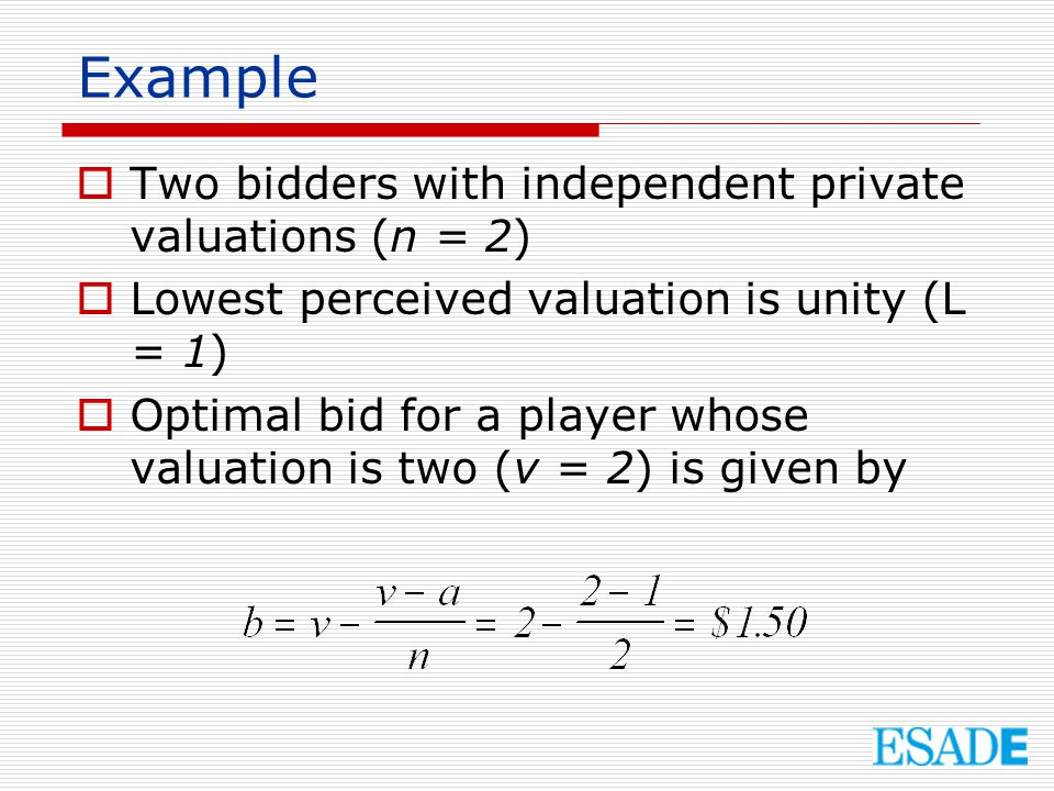 Example Two bidders with independent private valuations (n = 2)