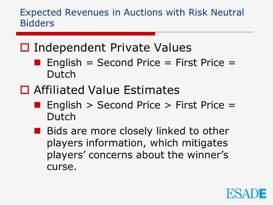 Expected Revenues in Auctions with Risk Neutral Bidders