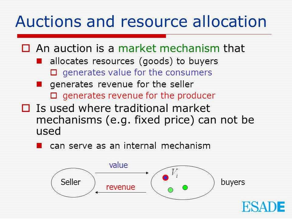 Auctions and resource allocation