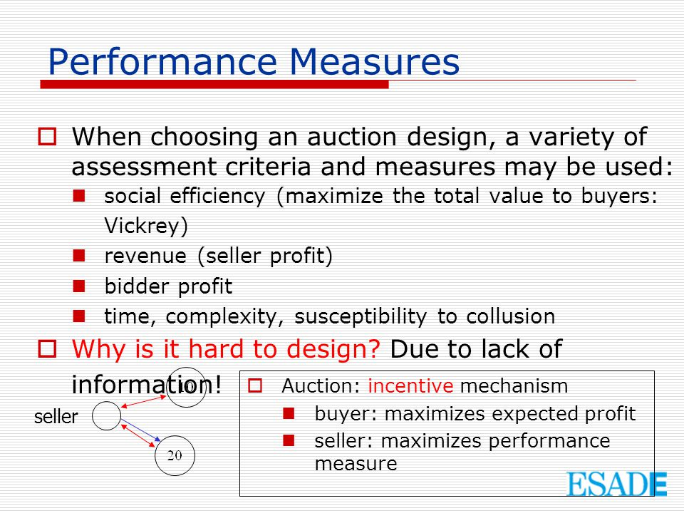 Performance Measures When choosing an auction design, a variety of assessment criteria and measures may be used: