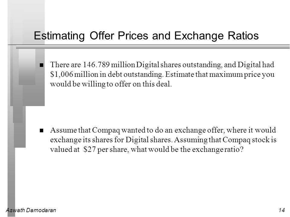 Estimating Offer Prices and Exchange Ratios