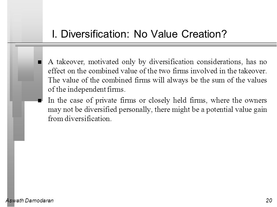 I. Diversification: No Value Creation