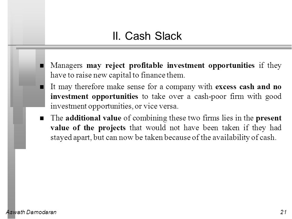 II. Cash Slack Managers may reject profitable investment opportunities if they have to raise new capital to finance them.
