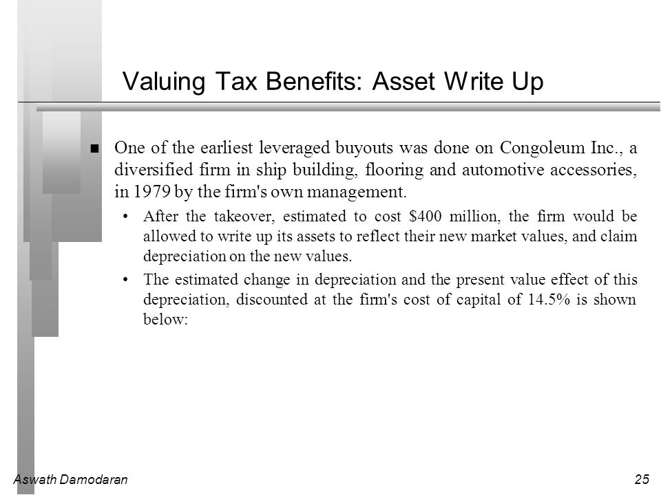 Valuing Tax Benefits: Asset Write Up