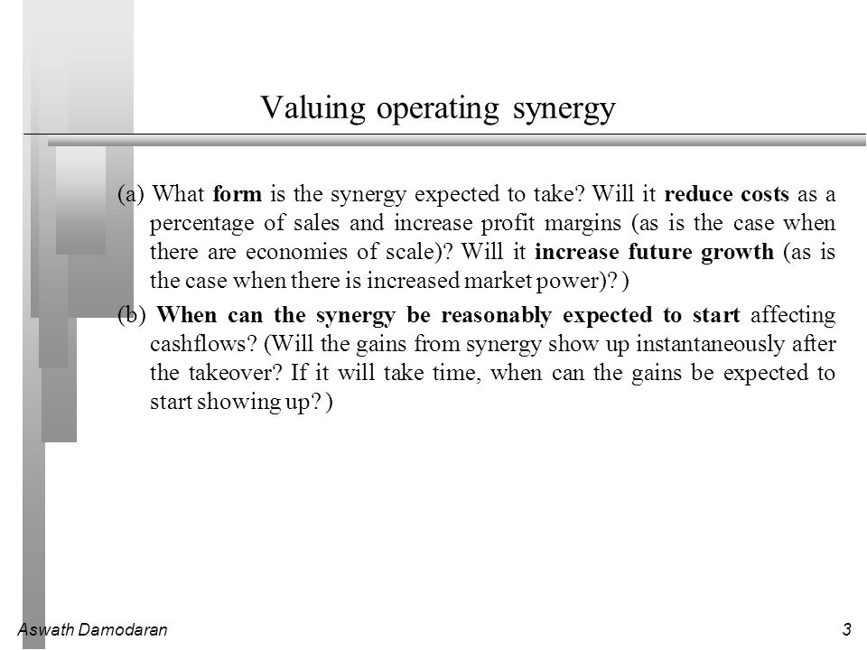 Valuing operating synergy