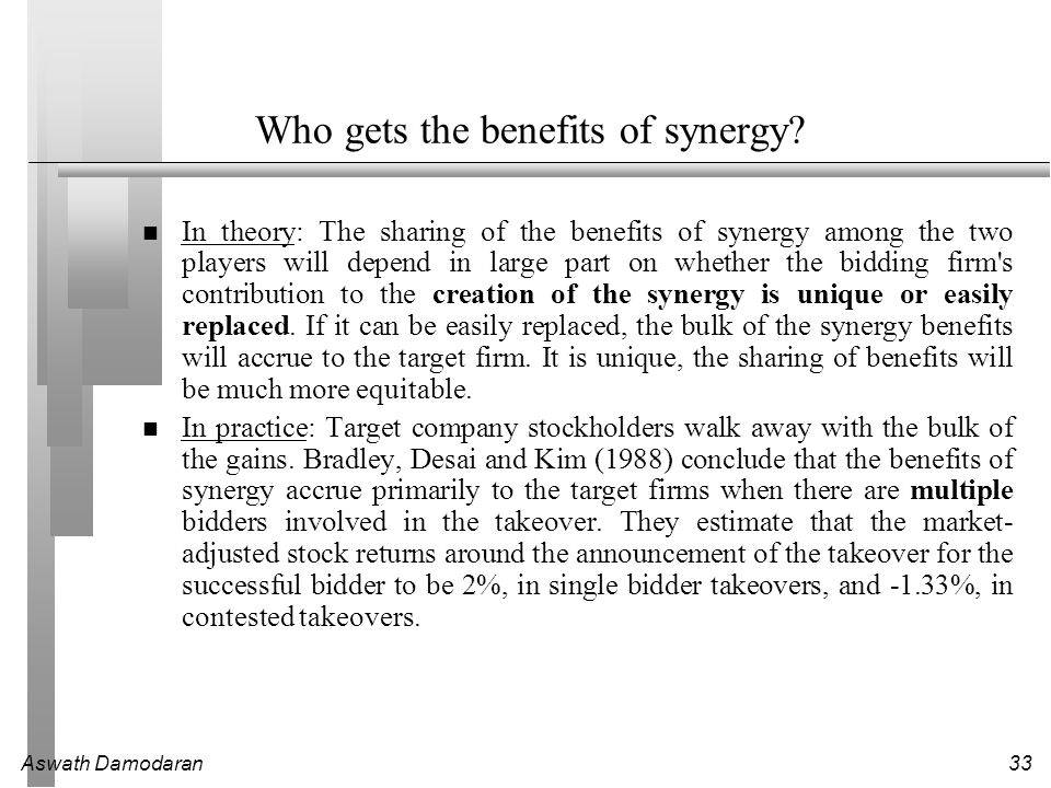 Who gets the benefits of synergy