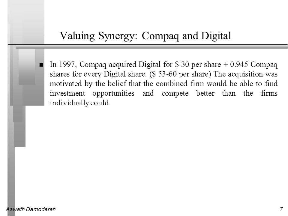 Valuing Synergy: Compaq and Digital