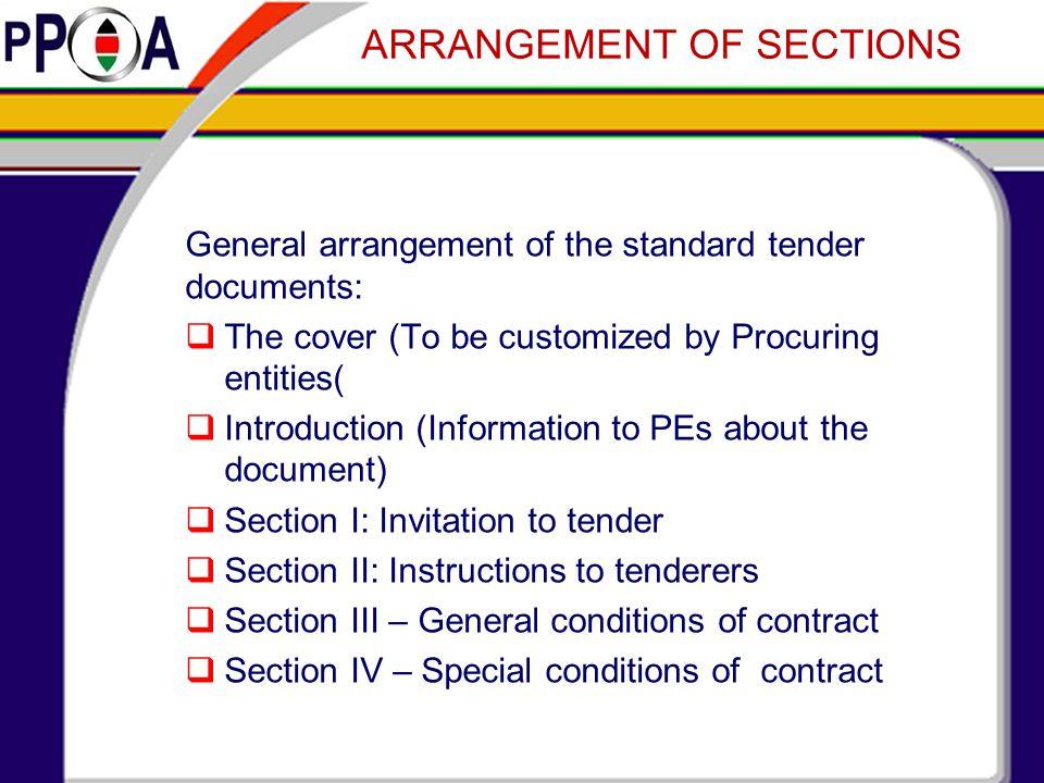 Understanding the importance tender documents ppt video online 12 arrangement of sections stopboris Gallery