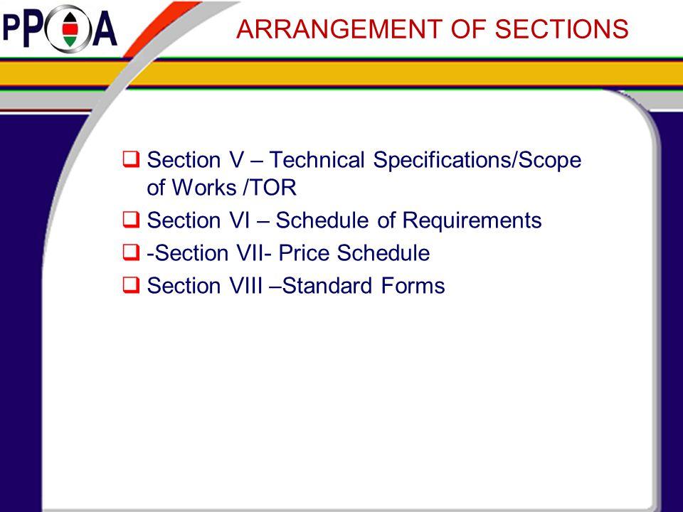 ARRANGEMENT OF SECTIONS