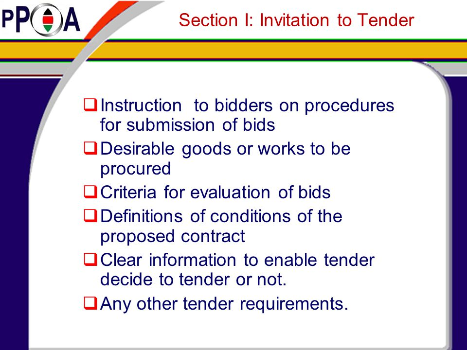Section I: Invitation to Tender
