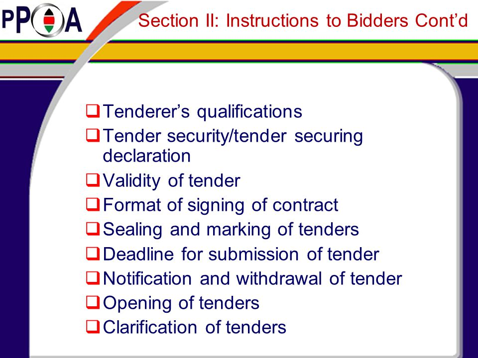 Section II: Instructions to Bidders Cont'd