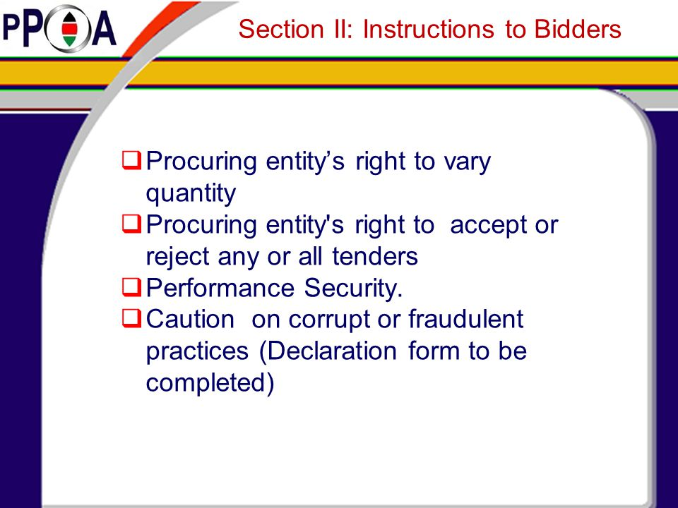 Section II: Instructions to Bidders