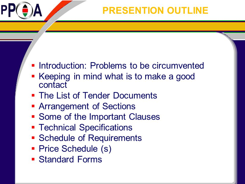 PRESENTION OUTLINE Introduction: Problems to be circumvented