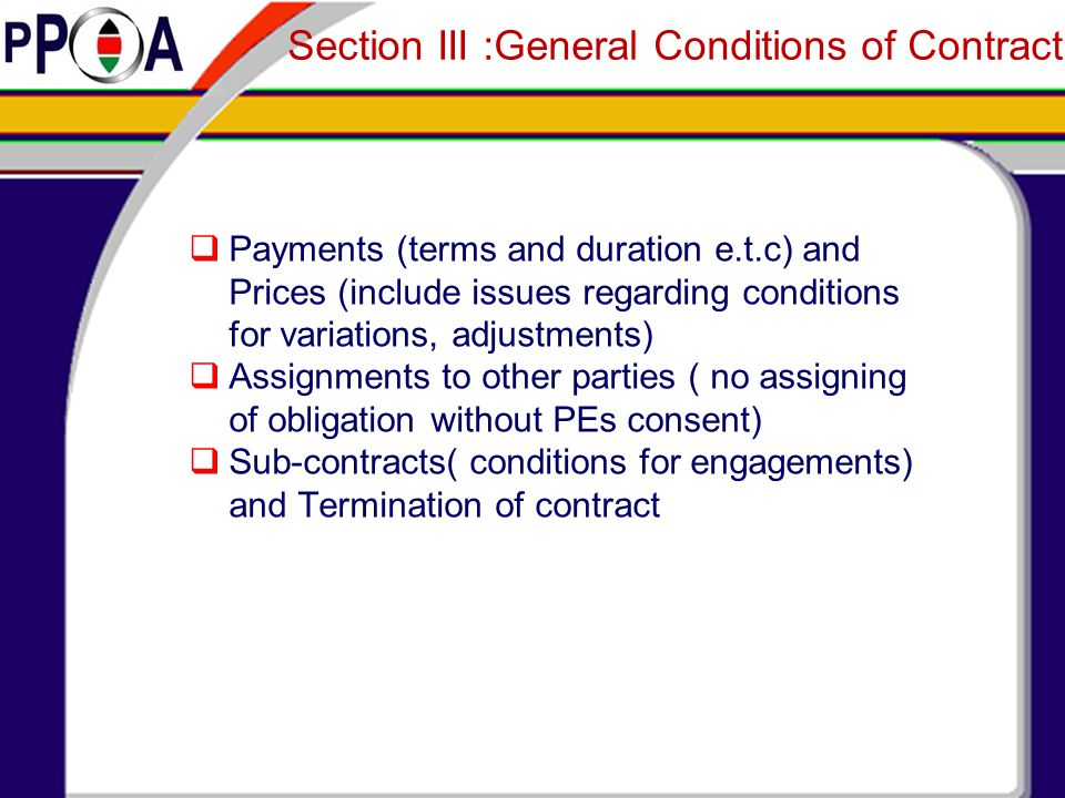 Section III :General Conditions of Contract
