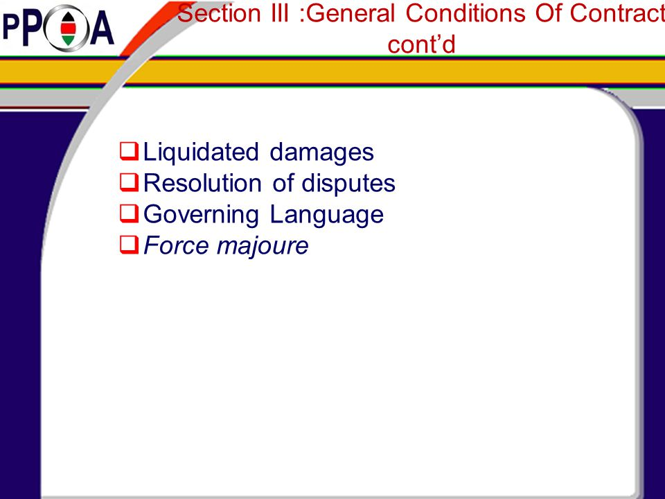 Section III :General Conditions Of Contract cont'd
