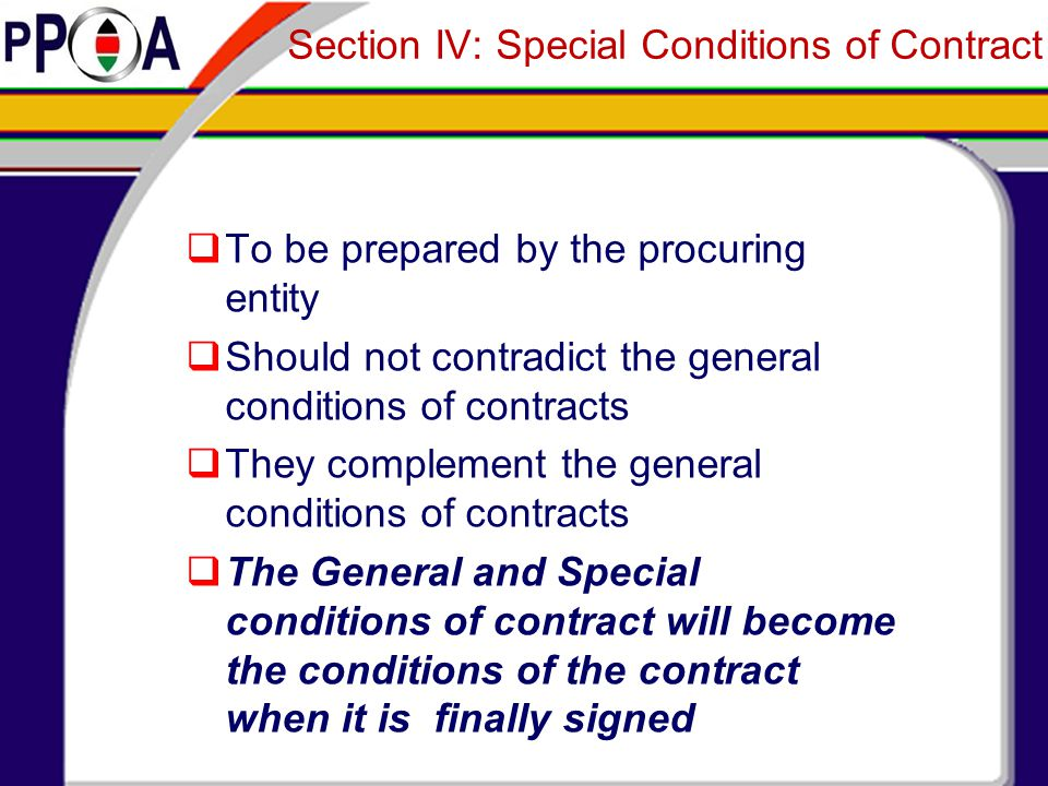 Section IV: Special Conditions of Contract