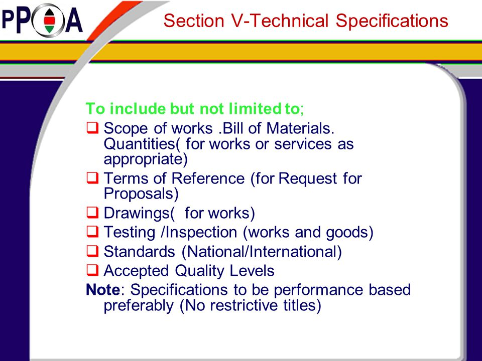 Section V-Technical Specifications